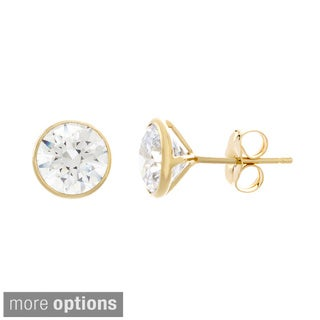 Sterling Essentials Sterling Silver Bezel-set Cubic Zirconia Stud Earrings