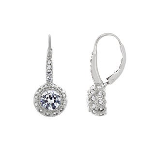 Sterling Essentials Sterling Silver Round-cut Cubic Zirconia Dangle Earrings
