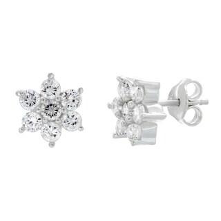 Sterling Essentials Sterling Silver Cubic Zirconia Flower Stud Earrings