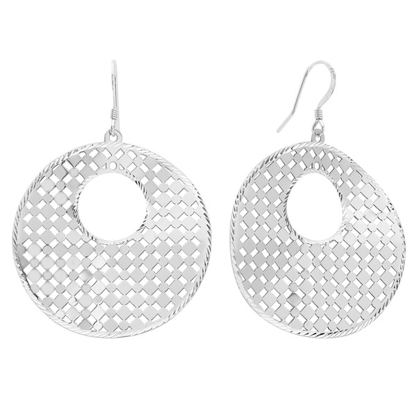 Sterling Essentials Sterling Silver Diamond-cut Lace Disc Drop Earrings