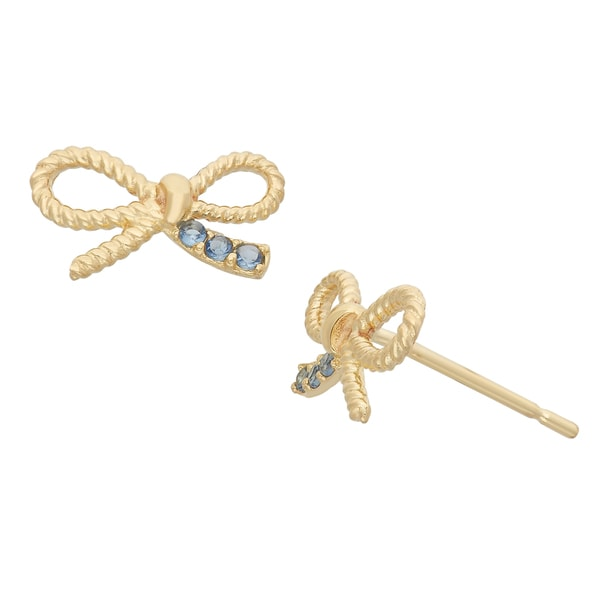Junior Jewels 14KT Gold Blue CZ Designer Ribbon Bow Earrings