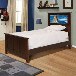 LightHeaded Beds Shaker Chocolate Twin Bed with Changeable Back-lit LED Headboard Imagery
