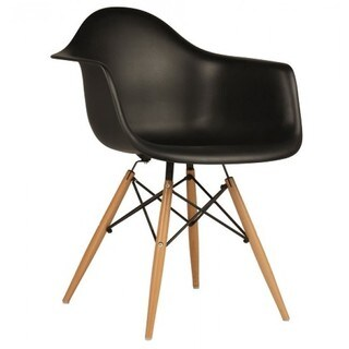 Contemporary Retro Molded Black Accent Plastic Dining Armchair with Wood Eiffel Legs