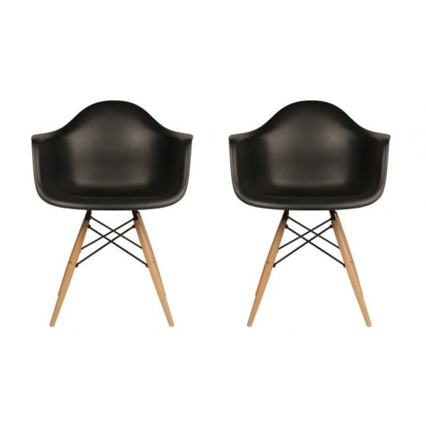 Eames molded plastic chair dining room - Contemporary Retro Molded Black Accent Plastic Dining Armchairs With
