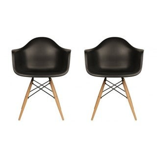 Contemporary Retro Molded Black Accent Plastic Dining Armchairs with Wood Eiffel Legs (Set of 2)