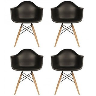 Contemporary Retro Molded Black Accent Plastic Dining Armchairs with Wood Eiffel Legs (Set of 4)