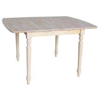 Unfinished Turned Style Parawood Dining Table with Butterfly Extension