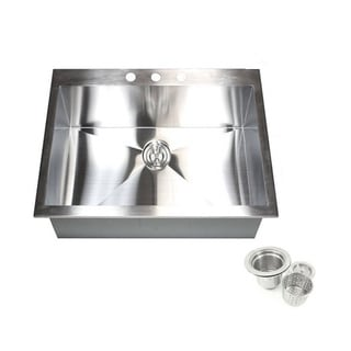 25-inch 16 Gauge Stainless Steel Single Bowl Topmount Drop-in Zero Radius Kitchen Island Bar Sink