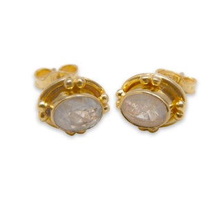 Sitara Goldplated Rainbow Moonstone Post Earrings (India)