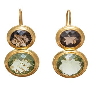 Sitara Goldplated Smokey Quartz and Green Amethyst Dangle Earrings (India)