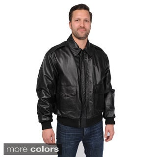 Men's Big and Tall A-2 Leather Bomber Jacket with Multi Pocket Front