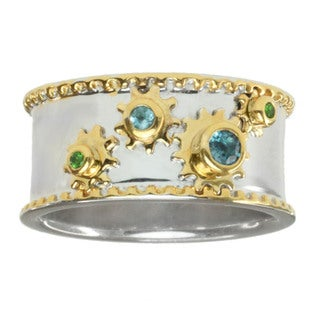 Michael Valitutti Men's Two-tone Gold Over Silver Blue Topaz and Chrome Diopside 'Cogs' Ring