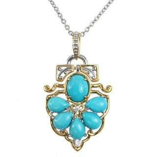 Michael Valitutti Two-tone Gold Over Silver Sleeping Beauty Turquoise and White Zircon Necklace