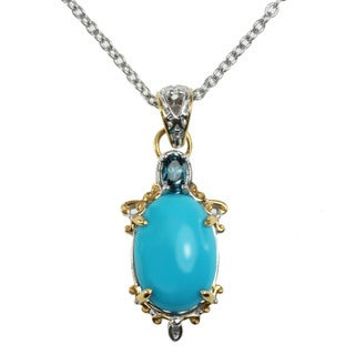 Michael Valitutti Two-tone Gold Over Silver Sleeping Beauty Turquoise and London Blue Topaz Necklace