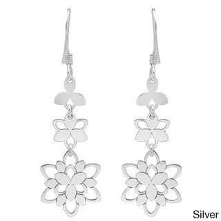 Sterling Essentials 14k Gold Plated Silver Dangling Bloom Dangle Earrings