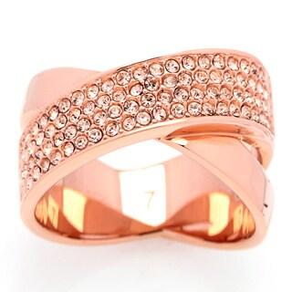 Michael Kors Rose Goldtone Stainless Steel Crystal Fashion Ring