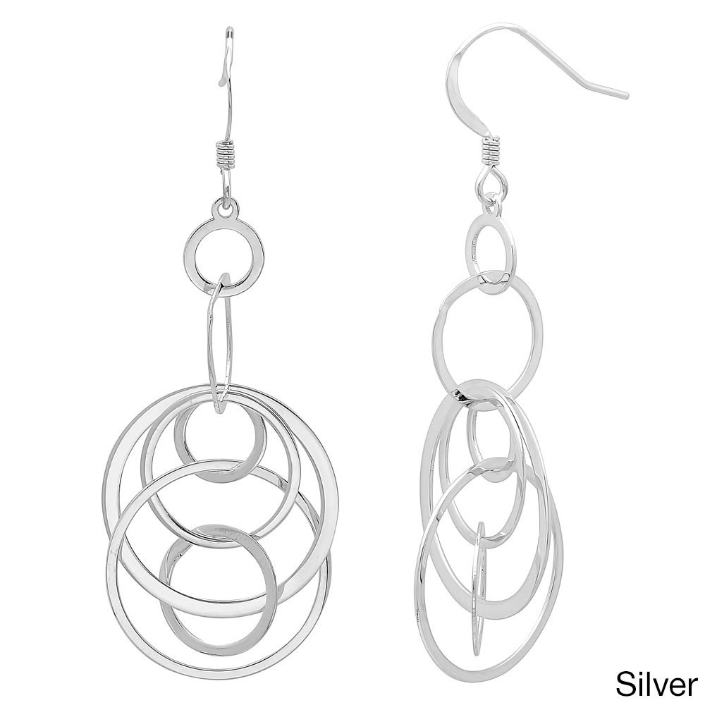 Sterling Essentials Sterling Essentials 14k Gold Plated Silver Interlocking Circle Drop Earings