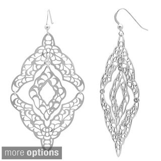 Sterling Essentials 14k Gold Plated Silver Filigreed Cutout Dangle Earrings