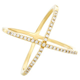 Sterling Essentials Silver CZ X Criss-Cross Ring
