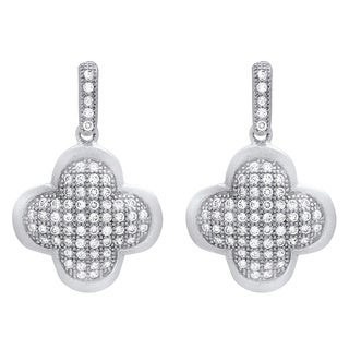 Sterling Essentials Silver Cubic Zirconia Clover Dangle Earrings
