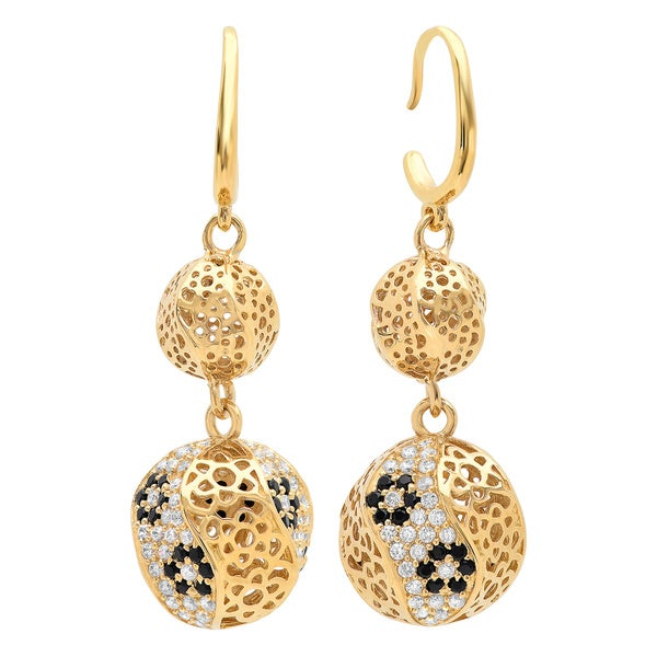 Sterling Essentials Gold-plated Silver Cubic Zirconia Florentine Bead Earrings