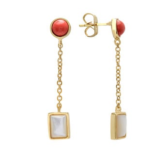 Sterling Essentials Goldplated Silver Mother of Pearl Cabochon Stone Earrings