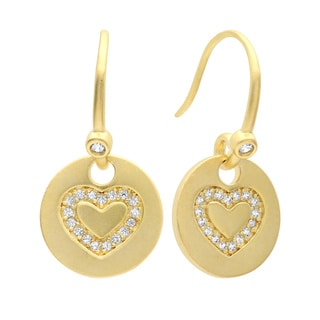 Sterling Essentials Gold Plated Silver Cubic Zirconia Heart Medallion Dangle Earrings