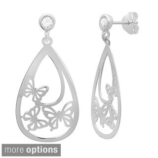 Sterling Essentials 14k Goldplated Silver Cubic Zirconia Butterfly Pear Dangle Earrings