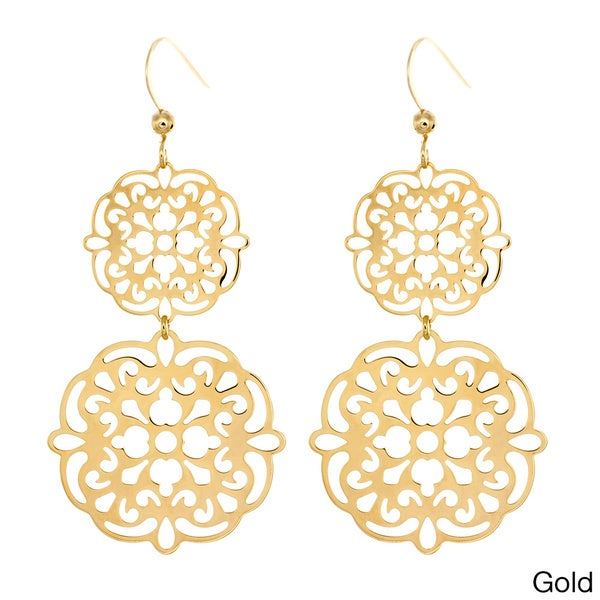 Sterling Essentials 14k Goldplated Silver Filigree Cutout Drop Earrings