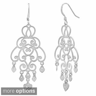 Sterling Essentials 14k Goldplated Silver Cut-out Heart Charm Chandelier Dangle Earrings