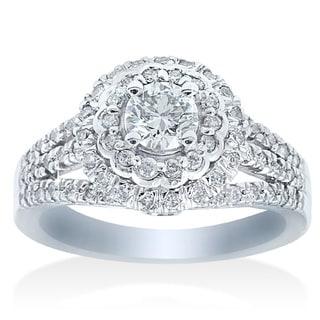 14k White Gold 1 1/10ct TDW Double Halo Diamond Engagement Ring