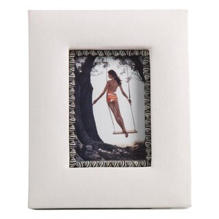 White Faux Leather Frame and/ Zebra Shells Photo Frame