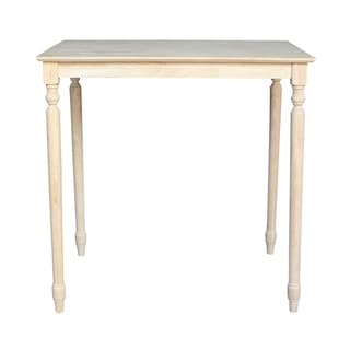 Unfinished Bar Height Turned-leg Rectangular Parawood Dining Table