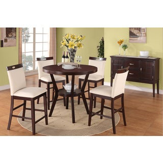 Novara Brown and Cream Round Counter-height 5-piece Dining Set