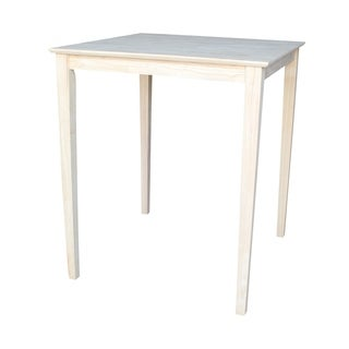 Unfinished Bar Height Square Shaker Style Parawood Dining Table