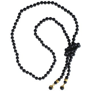 Sunstone Catherine Canino 18k Goldplated Black Faceted Glass Adjustable Lariat Necklace