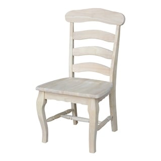 Unfinished Solid Parawood Country French Dining Chair (Set of 2)
