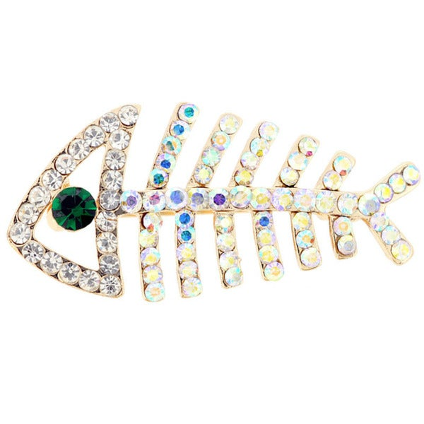 Crystal Fishbone Corsage Brooch