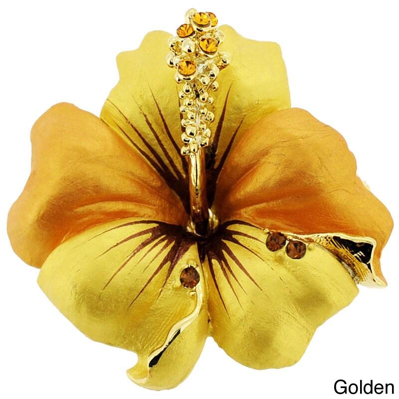 f7edd79bafa Fantasyard Small Hawaiian Hibiscus Crystal Flower Pin Brooch and Pendant
