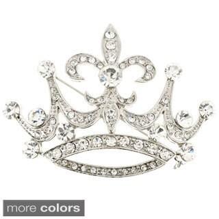 Silverplated Cubic Zirconia Fleur de Lis Sign Crown Brooch Pin