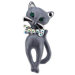 Grey Cat Bow Tie Brooch