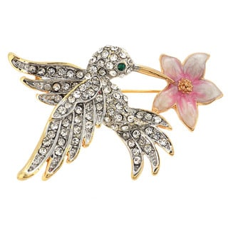 Cubic Zirconia Hummingbird with Flower Pin Brooch
