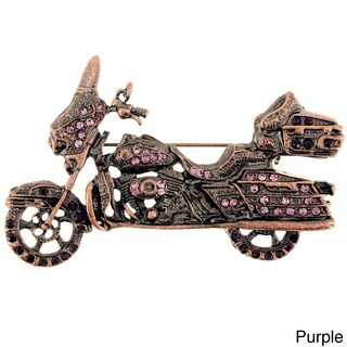 Cubic Zirconia Motorcycle Antiqued Pin Brooch