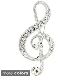 Silvertone or Black-plated Metal Cubic Zirconia Music Note Pin Brooch