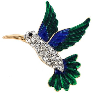 Rose Goldplated Metal Green Cubic Zirconia Hummingbird Pin Brooch