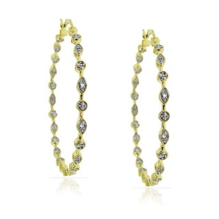 Junior Jewels Brass Glamorous Diamond Accent Hoop Earrings