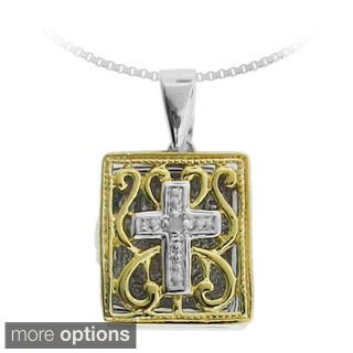 Gioelli Sterling Silver Diamond Accent Cross Bible Locket Pendant Necklace