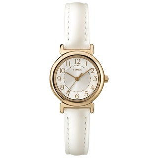 Timex Women's T2P4319J Main Street Metallic White Leather Strap Watch