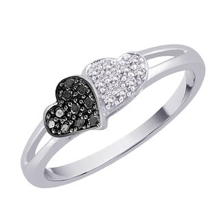 Sterling Silver 1/10ct TDW Black and White Diamond Double Heart Ring (G-H, I2-I3)