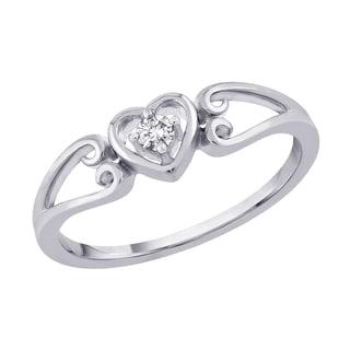 10k White Gold 1/10ct TDW Diamond Heart Promise Ring (J-K, I2-I3)